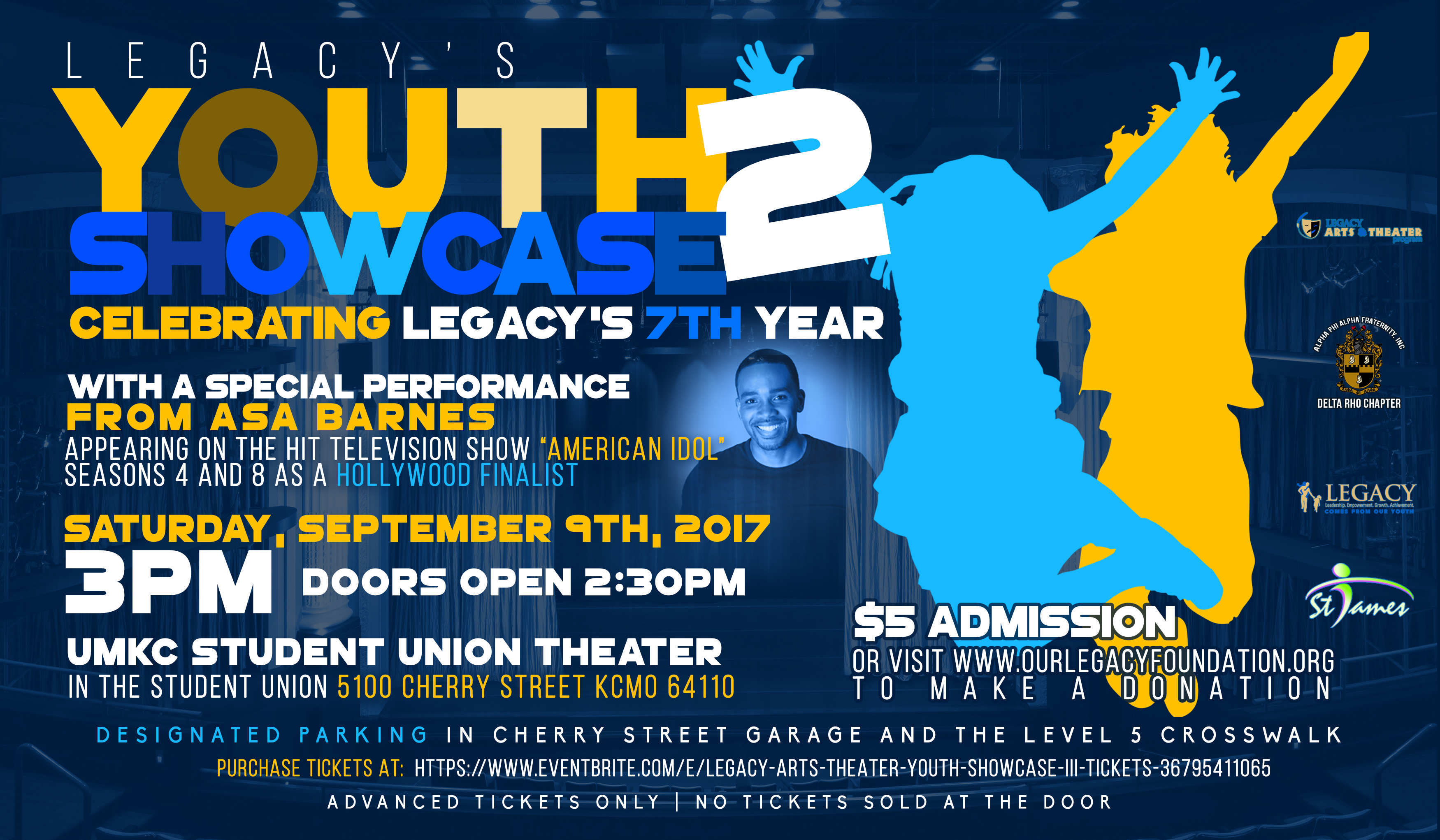 LEGACY is pleased to announce the return of our annual Arts & Theater Youth Showcase. Local youth will be showcasing their talents through song, dance and monologue. This is a major opportunity for them to take part in a stage performance.  LEGACY is celebrating our 7th year with a special performance from Asa Barnes (Appearing on the hit television show *AMERICAN IDOL* Season 4 and 8 as a Hollywood Finalist  The youth showcase is planned for Saturday September 9, 2017 at 3pm.  Purchase tickets HERE.